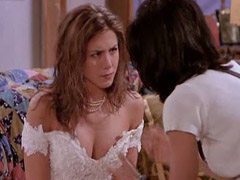 Aniston shows nice cleavage on cam