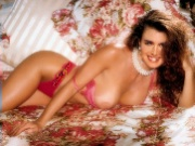 Hot brunette celebrity Brooke Shields showing his huge titties getting railed and facialized by horny dudes
